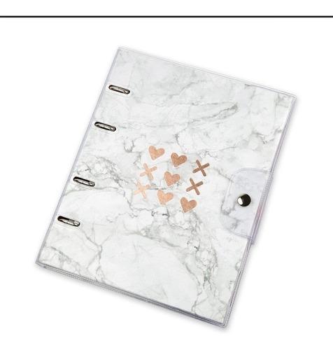fichário stone mármore-capa pvc -10 mat - frete grátis