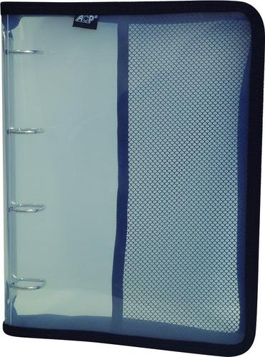fichário universitário pvc 4 argolas c/ zíper (8 unidades)