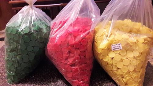 fichas escolares lotería bolsa 4 colores surtidos 5000 pzas.