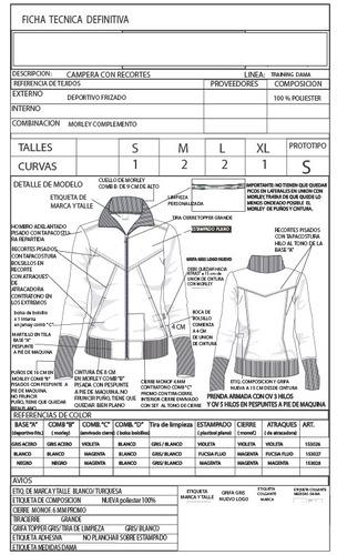 fichas técnicas y geometrales de indumentaria
