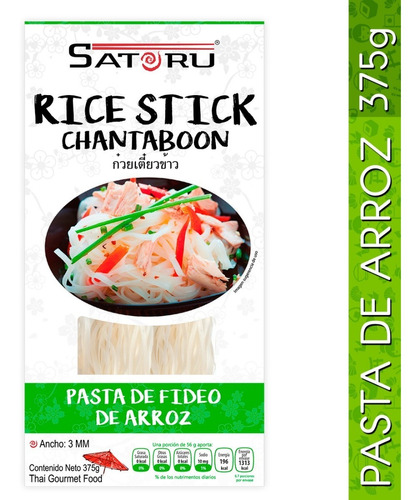 fideos de arroz, rice stick chantaboon 3mm 375g