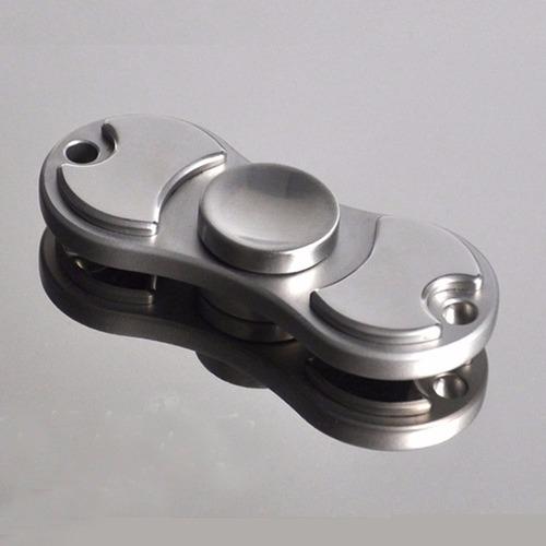 fidget hand spinner aluminio metalico anti-estres plata