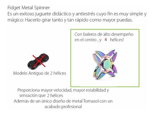 fidget metal spinner 2019 estuche 4 helices brazos rubius