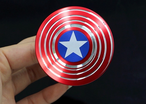 fidget spinner capitán américa metal bronce + caja metal