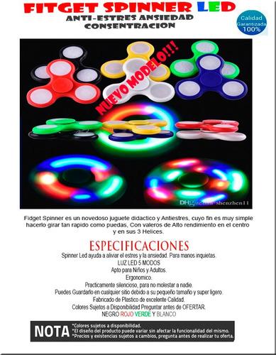 fidget spinner led con luz antiestres ansiedad spinners