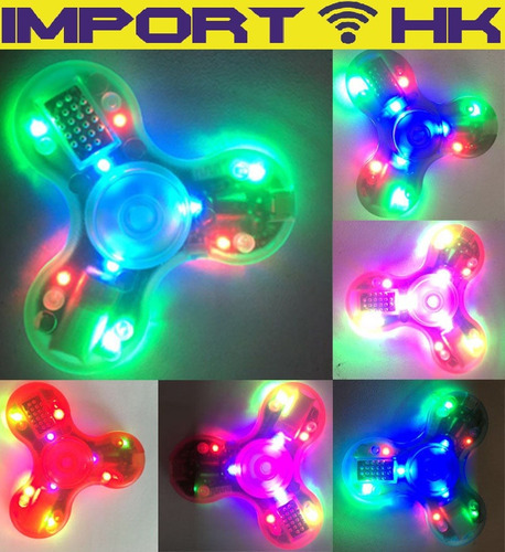 fidget spinner luces led parlante bluetooth antiestres