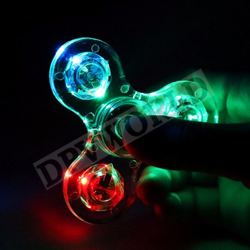 fidget spinner transparente luces led antiestres resistente