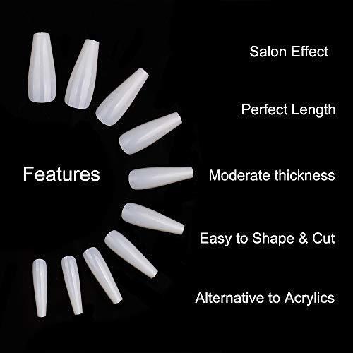 fidgetgear uñas postizas de acrilico frances, 10 tamaños,