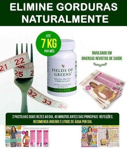 fields of greens forever - 80 capsulas - kit 3 unidades!!!