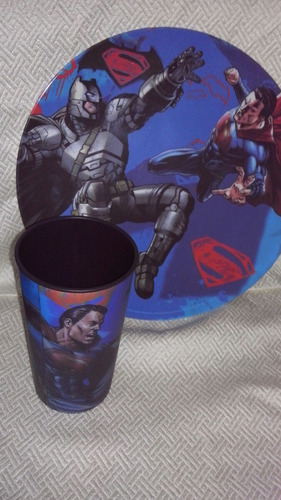 fiesta batman vs superman cilindro, plato, vaso! bolo