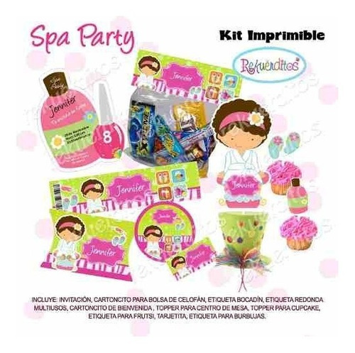 fiesta invitación kit imprimible spa party niñas tarjetas #3