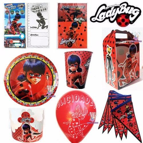 fiesta lady bug bolo platos cajas dulceros con 10 ladybug