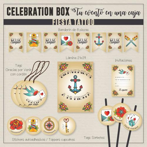 fiesta tattoo party box candy bar kits impresos 12 inv