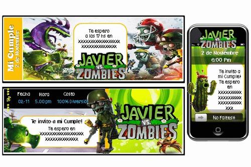 fiesta temática de plantas vs zombis personalizado 100%