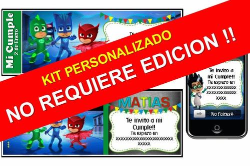fiesta tematica heroes en pijamas personalizado 100% pj mask