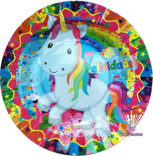 fiesta unicornio platos vasos globos cajas dulceras bolo