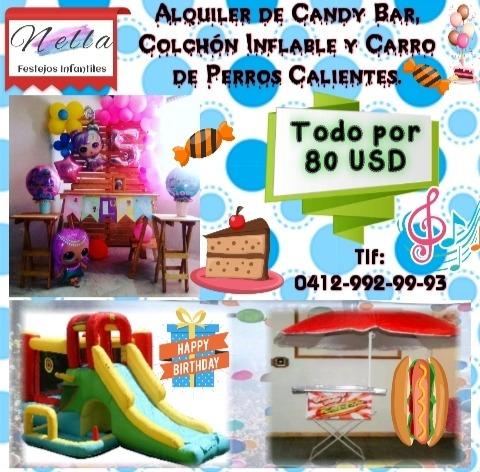 fiestas infantiles, colchón inflable, candy bar