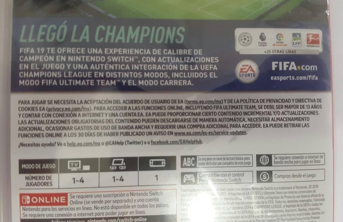 Fifa 19 2019 Ea Nintendo Switch Nuevo Sellado Original 2 599 99