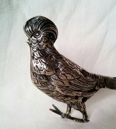 figura ave faisán alemán plata 800 sellada.