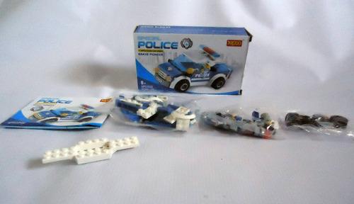 figura bloque armable auto patrulla policia juguete niños