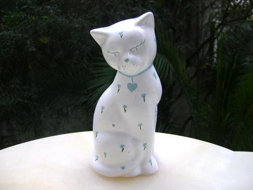 figura cerámica esmaltada gato floreado - no envío