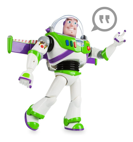 figura de acción con voz buzz lightyear toy story, disney.