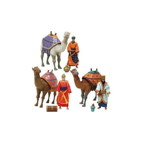 figura de acción del nacimiento de jesús tres reyes magos y