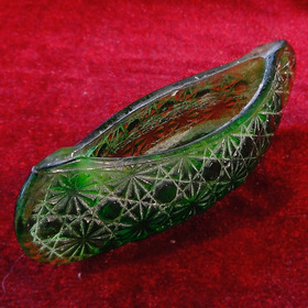 Figura De Canoa En Cristal Verde Fenton