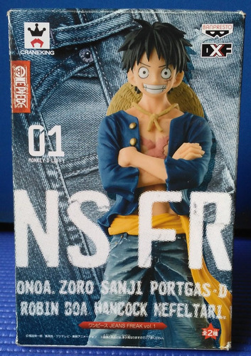 figura de monkey d. luffy one piece anime jeans banpresto