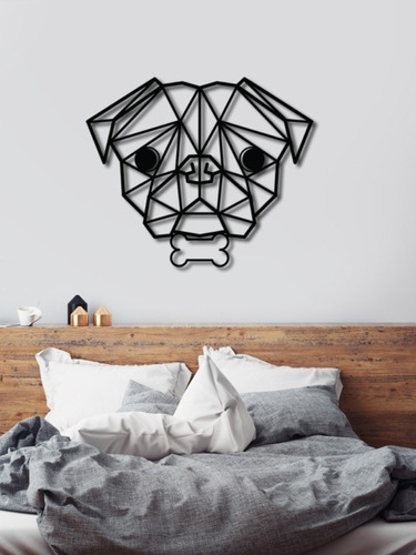 figura decorativa de pug geométrico 60x50cm madera mdf