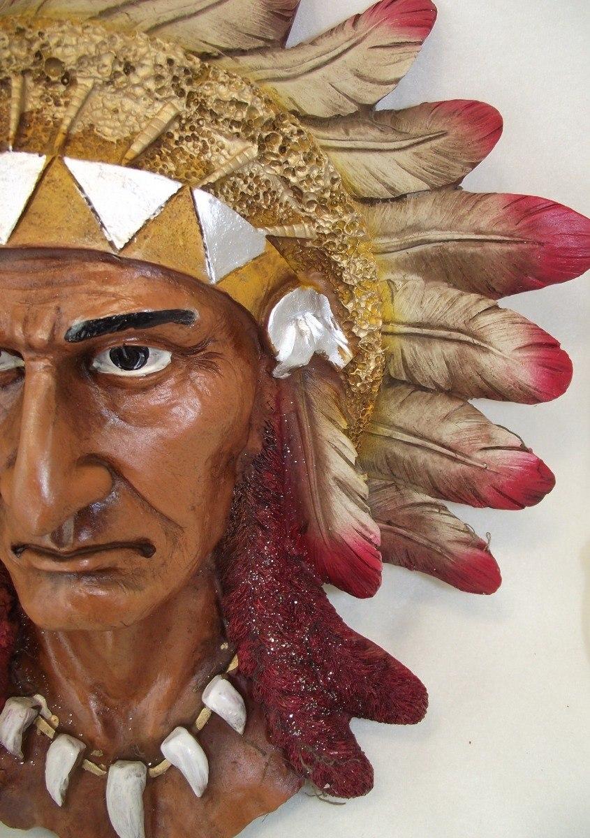 Figura Decorativa Resina Cabeza Apache Indio Geronimo 40cm ...