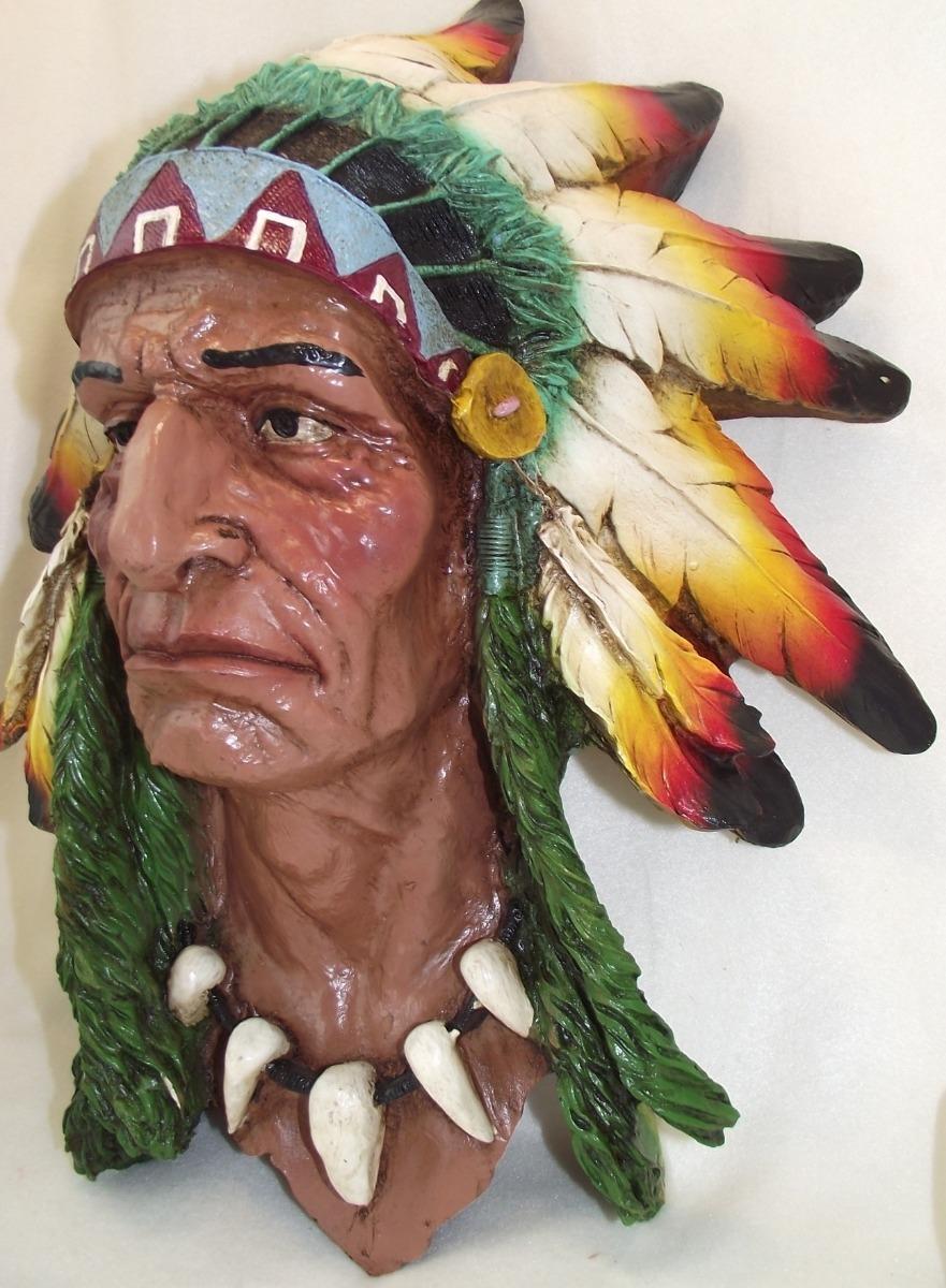 Figura Decorativa Resina Cabeza Apache Indio Gerónimo 45cm ...