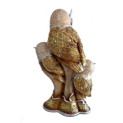 figura decorativa trio de búhos
