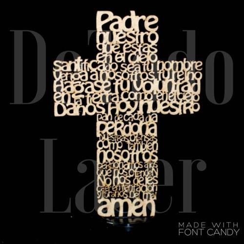 figura en mdf cruz padre nuestro