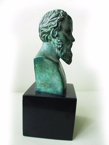 figura, estatua, escultura socrates peltre patinado y marmol