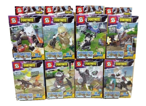 figura fortnite sy1181 set x8 juego pc juguetes video