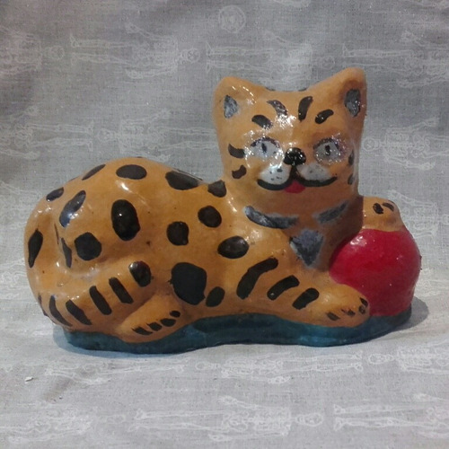 figura gato de cemento macizo chico 10cm jardin patio casa