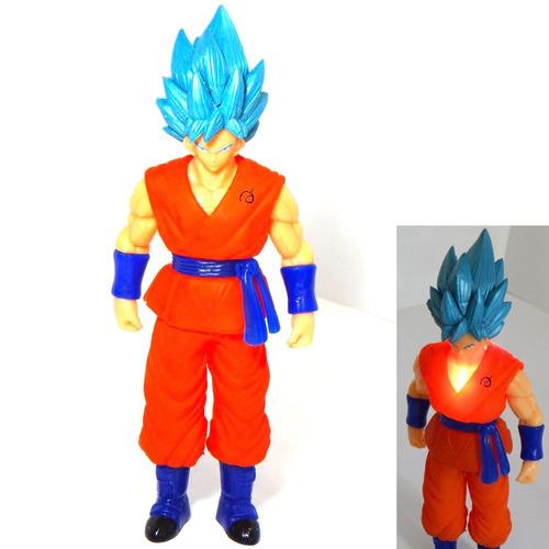 figura goku dragon ball super sayayin dios blue luz led 27cm