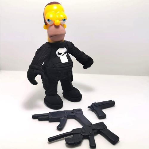 figura homero simpson parodia punisher calavera skull guns