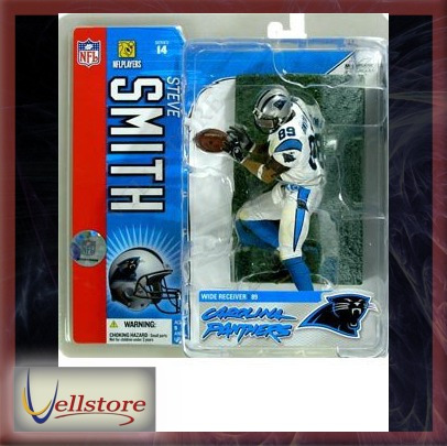 figura mcfarlane nfl steve smith white carolina panthers