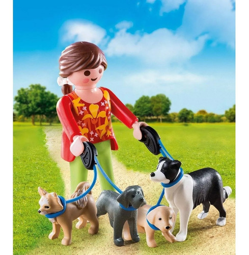 figura mujer con 4 perros 45380 - playmobil