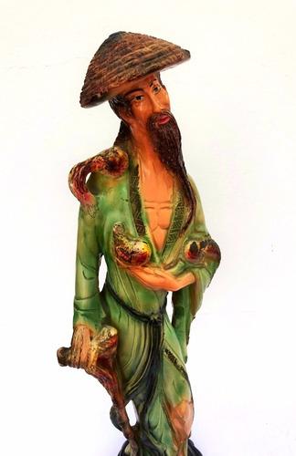 figura oriental en yeso pintada a mano  art 1257