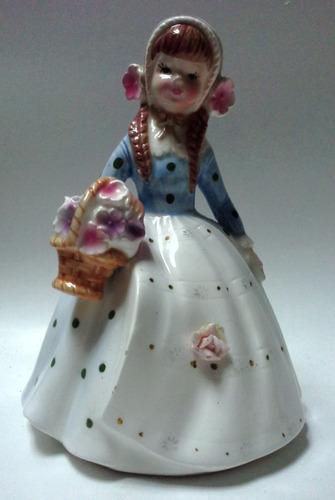 figura porcelana chica falda larga blanca pois negros