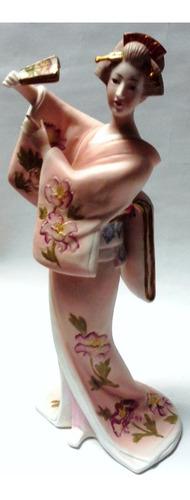 figura porcelana japonesa 60's geisha kimono rosa