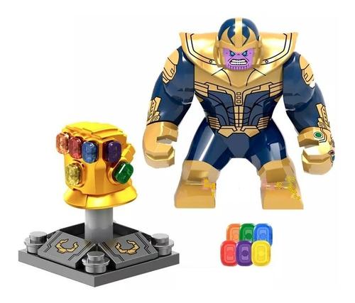 figura tipo lego thanos + guante del infinito avengers