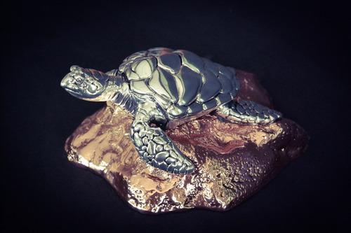 figura tortuga de mar plata 999 electroformado escultura.