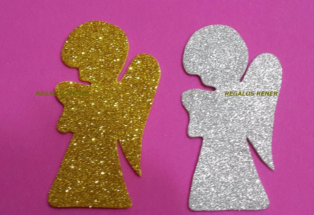 figuras angelitos estrellas o arboles goma eva glitter pack - Adornos Navideos De Goma Eva