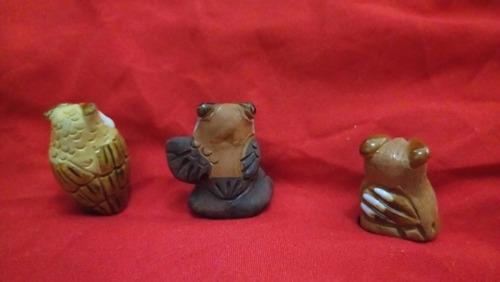 figuras barro vidriado decoración colección búho