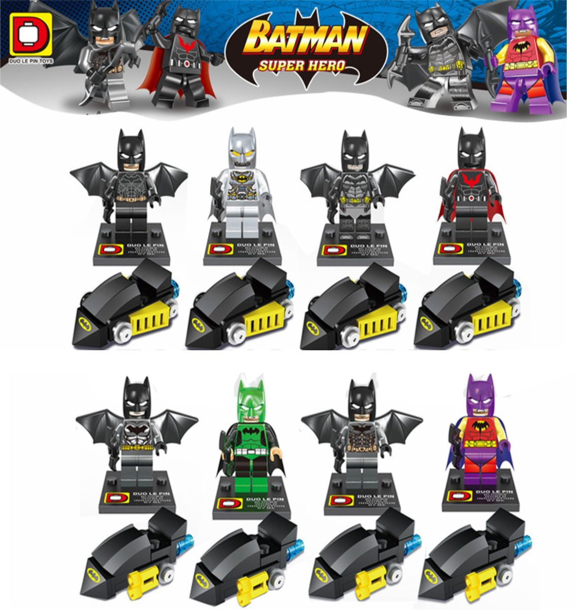 figuras compatibles con lego de batman con mini batimovil en mercado libre. Black Bedroom Furniture Sets. Home Design Ideas
