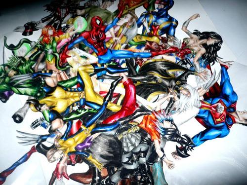 figuras de acción, papel endurecido, dc, marvel, superheroes